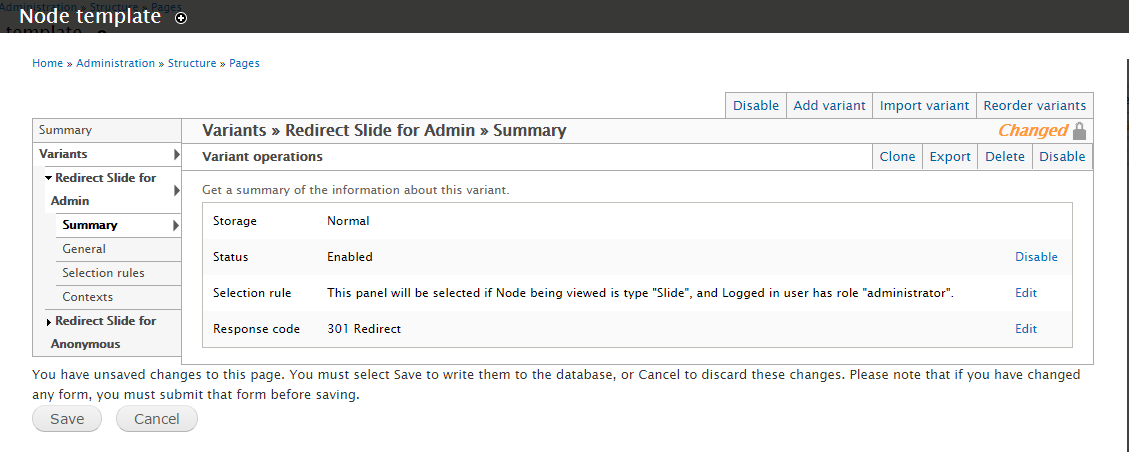 "Screenshot of my ""Redirect Slide for Admin"" Node Template"