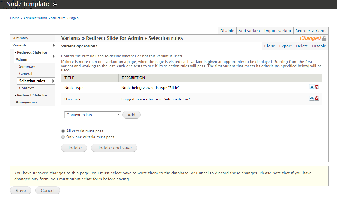 "Screenshot of my ""Redirect Slide for Admin"" Selection Rules"